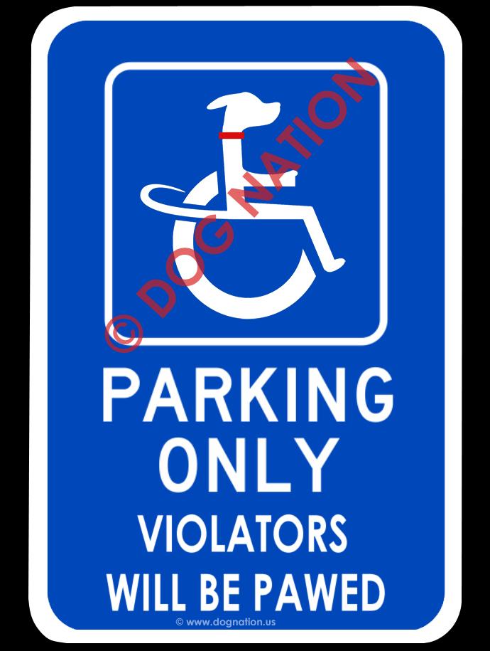 handicapped dog sign